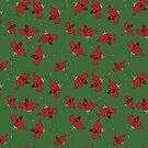 « fleurs rouges sur fond vert » par bintadesigns