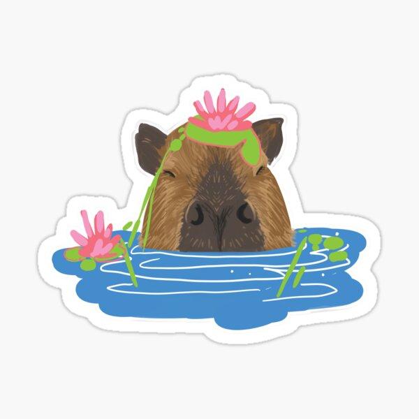 Splashy Capybara Sticker