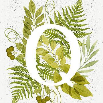 Monograma de la letra Q con helecho verde acuarela y hojas de helga-wigandt