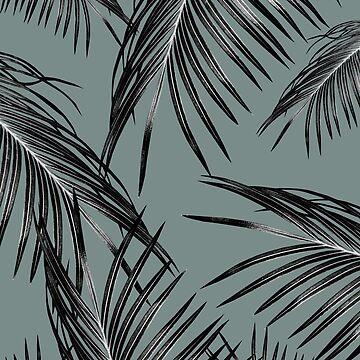 Black Palm Leaves Dream #4 #tropical #decor #art  by anitabellajantz