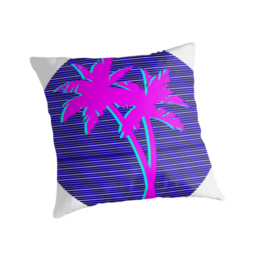 Palm trees vaporwave quot throw pillows by pattyfull redbubble
