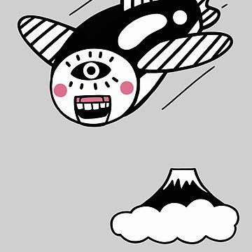 flying fish and Mt.Fuji (gray version) by RYURAKUDO