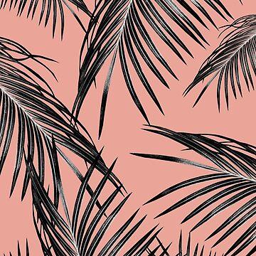 Black Palm Leaves Dream #5 #tropical #decor #art  by anitabellajantz
