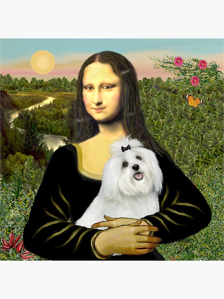 Mona Lisa and her Maltese cutie by JeanBFitzgerald