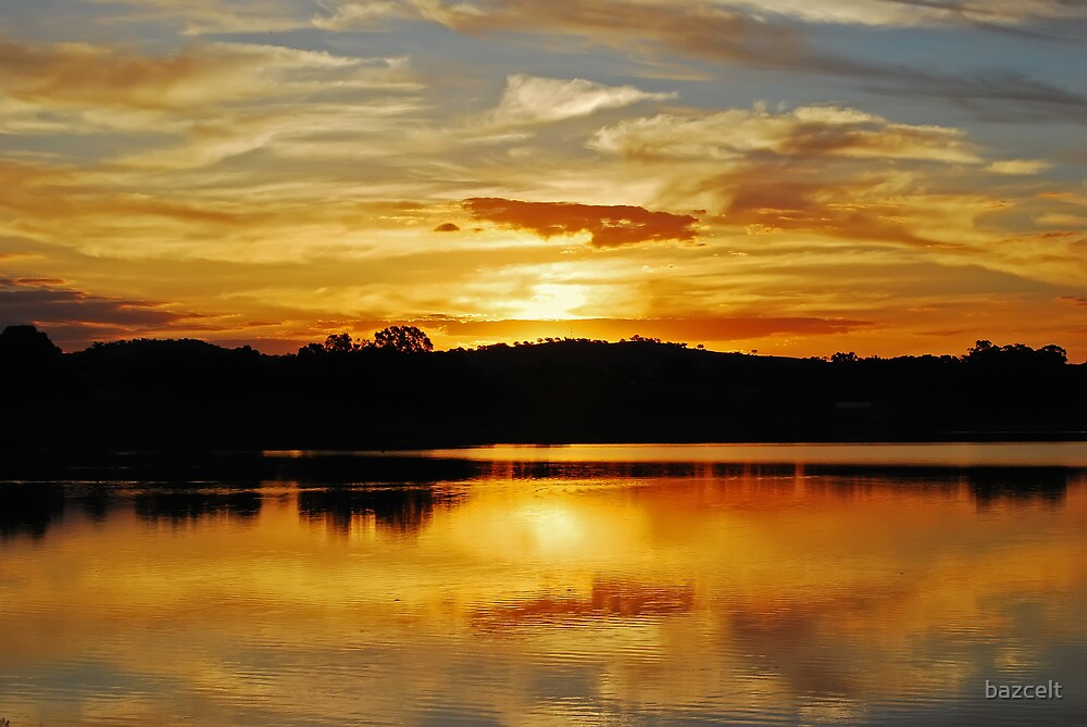 Sunset reflections, Lake Albert by bazcelt