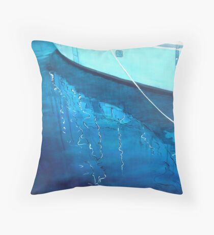 Yacht Reflected II - oil on canvas - 2010 Throw Pillow