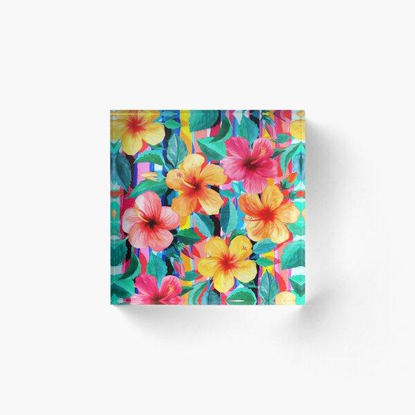 OTT Maximalist Hawaiian Hibiscus Floral with Stripes Acrylic Block