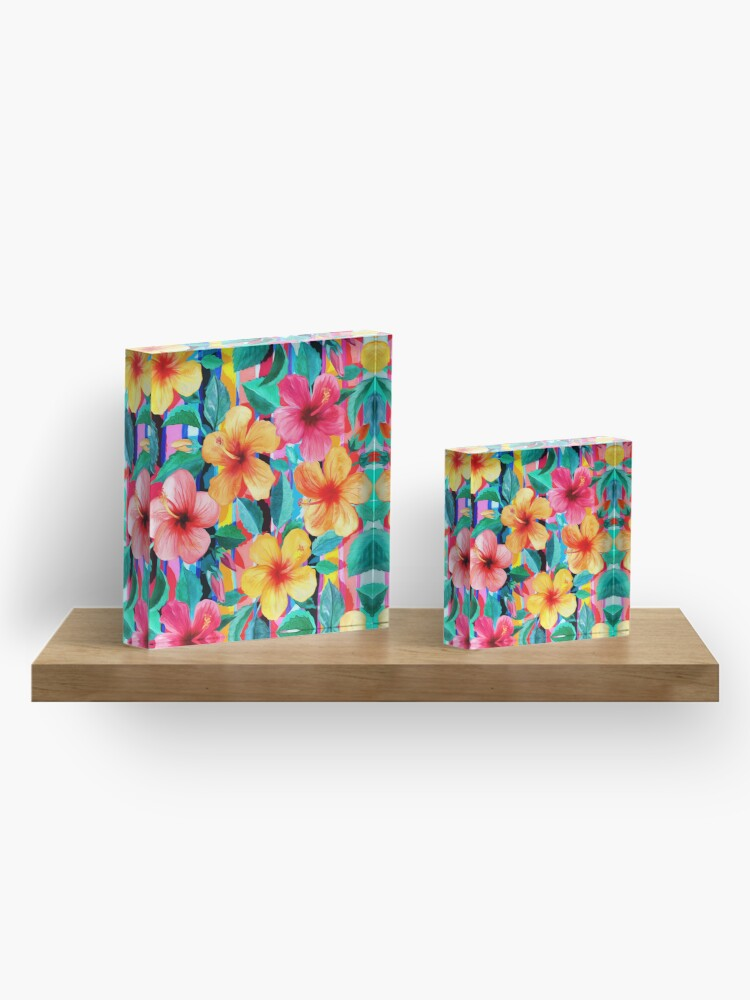 Alternate view of OTT Maximalist Hawaiian Hibiscus Floral with Stripes Acrylic Block