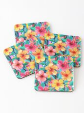 OTT Maximalist Hawaiian Hibiscus Floral with Stripes Coasters