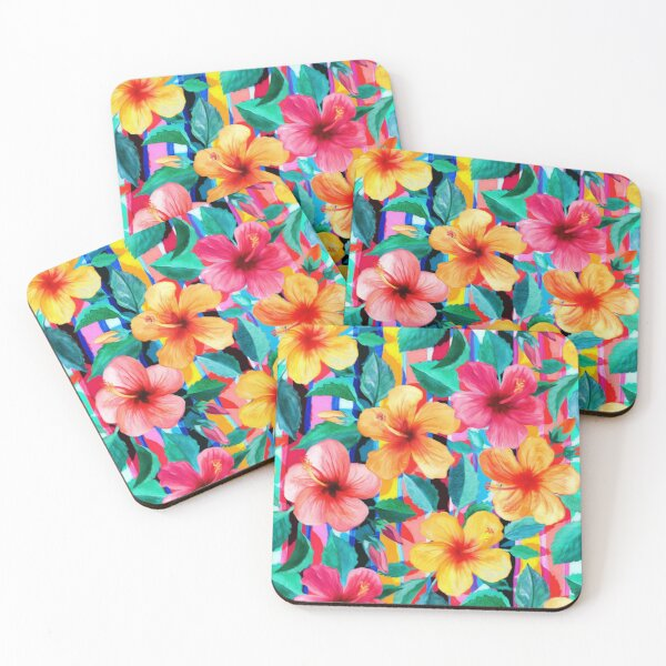 OTT Maximalist Hawaiian Hibiscus Floral with Stripes Coasters (Set of 4)