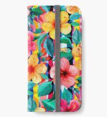 OTT Maximalist Hawaiian Hibiscus Floral mit Streifen iPhone Flip-Case/Hülle/Skin