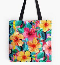 Bolsa de tela OTT maximalista hawaiano hibisco floral con rayas