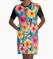 OTT Maximalist Hawaiian Hibiscus Floral mit Streifen T-Shirt Kleid