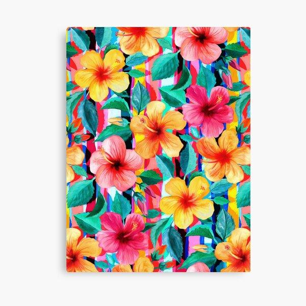 OTT Maximalist Hawaiian Hibiscus Floral with Stripes Canvas Print