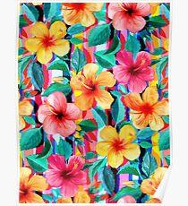 OTT Maximalist Hawaiian Hibiscus Floral mit Streifen Poster
