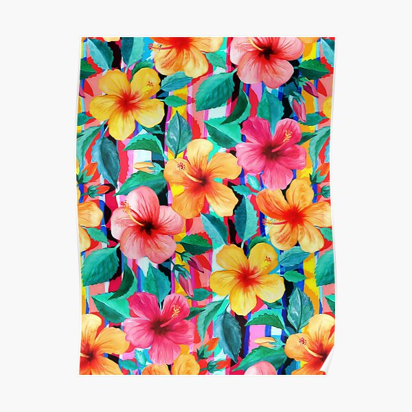OTT Maximalist Hawaiian Hibiscus Floral with Stripes Poster