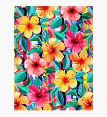 OTT Maximalist Hawaiian Hibiscus Floral with Stripes Photographic Print
