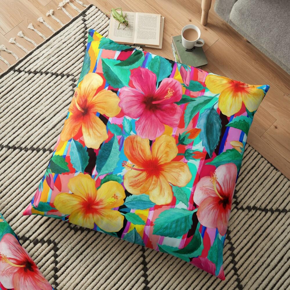 OTT Maximalist Hawaiian Hibiscus Floral with Stripes Floor Pillow