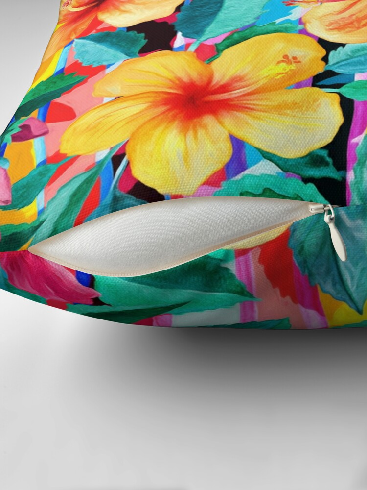 Alternate view of OTT Maximalist Hawaiian Hibiscus Floral with Stripes Floor Pillow