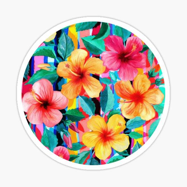 OTT Maximalist Hawaiian Hibiscus Floral with Stripes Sticker
