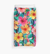 OTT Maximalist Hawaiian Hibiscus Floral mit Streifen Bettbezug