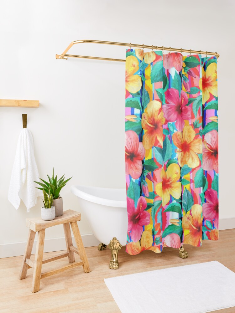 Alternate view of OTT Maximalist Hawaiian Hibiscus Floral with Stripes Shower Curtain