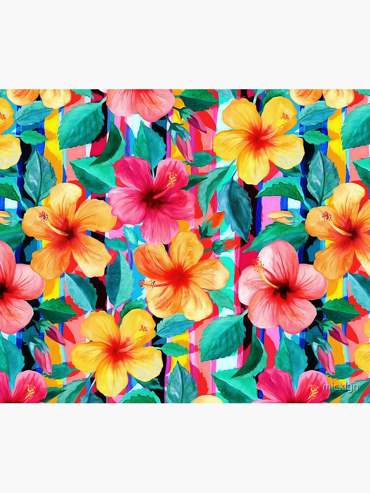 OTT Maximalist Hawaiian Hibiscus Floral with Stripes by micklyn