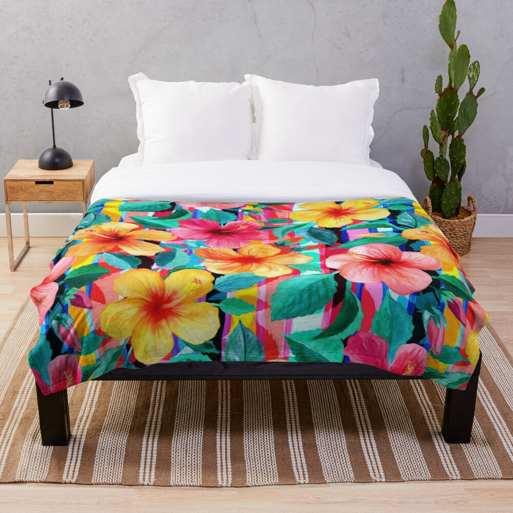 OTT Maximalist Hawaiian Hibiscus Floral with Stripes Throw Blanket