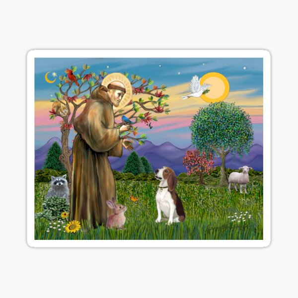 St Francis Blesses a Beagle Sticker