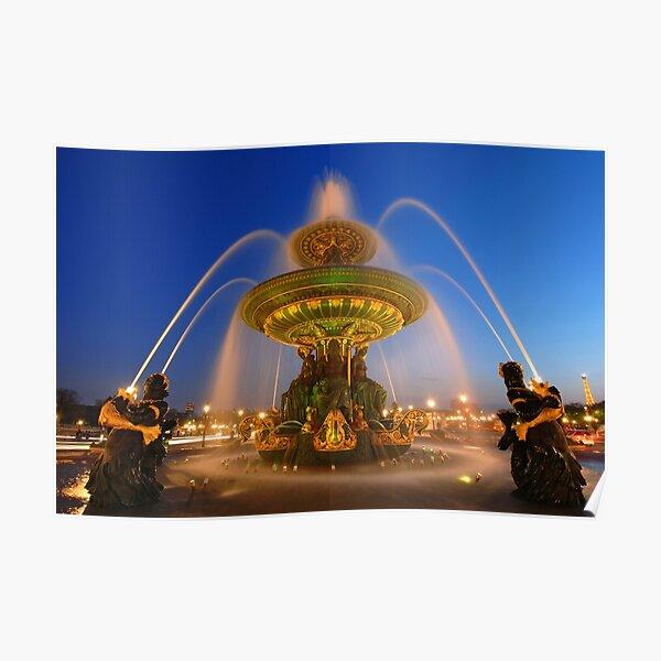 Fontaine des Fleuves la nuit Poster