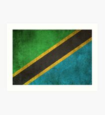 Old and Worn Distressed Vintage Flag of Tanzania Art Print