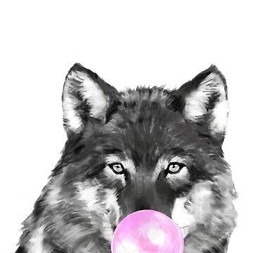 Goma de mascar lobo blanco y negro de bignosework