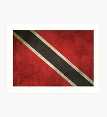 Old and Worn Distressed Vintage Flag of Trinidad and Tobago Art Print
