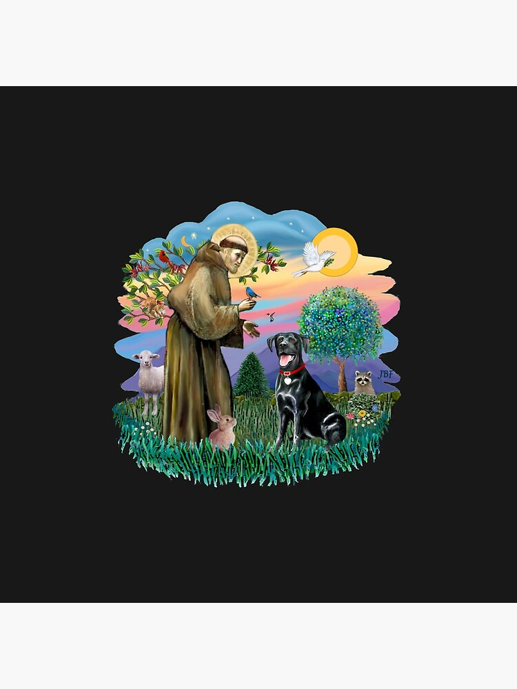 St. Francis Blesses a Black Labrador Retriever (free form) by JeanBFitzgerald