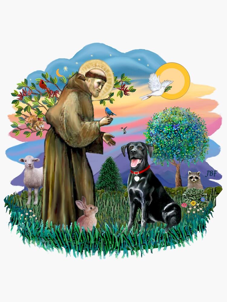 St. Francis Blesses a Black Labrador Retriever (free form) by JeanBFitzgerald