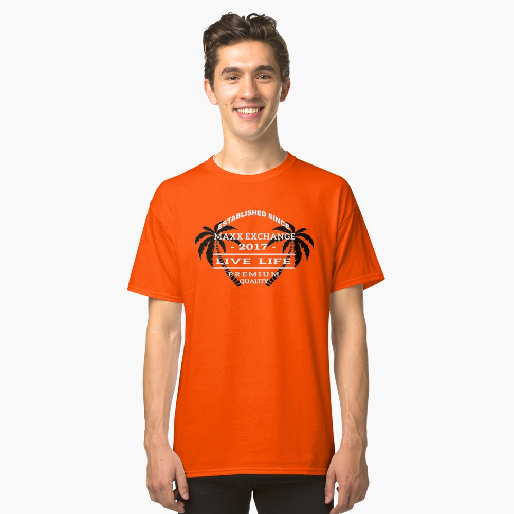 Vacation Beach Wear, Live Life, Maxx Exchange. Classic T-Shirt Front
