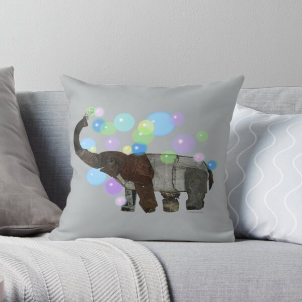 Elephant with bubbles Throw Pillow