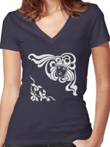Cool Art Deco Face with Flourishes Women's Fitted V-Neck T-Shirt
