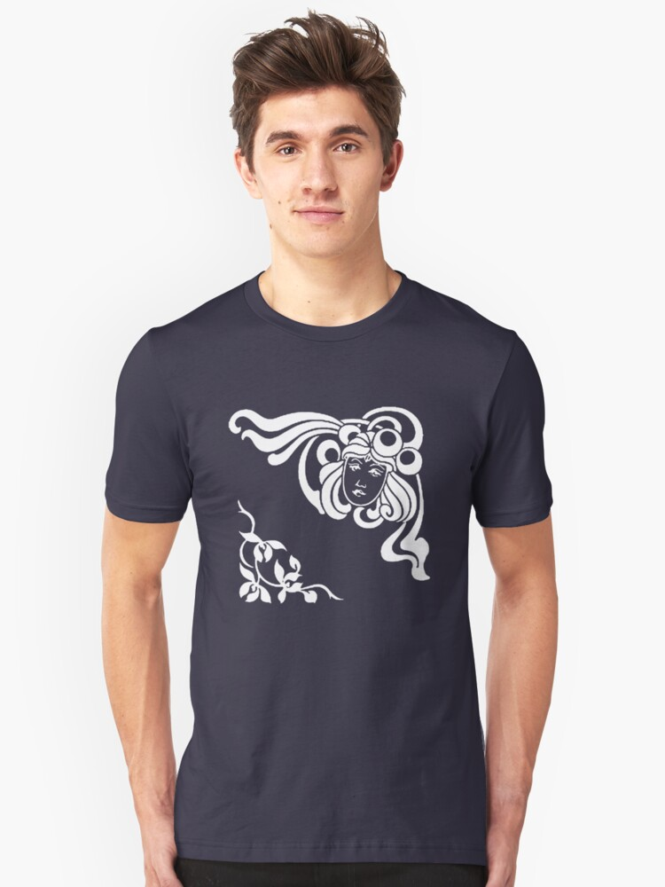 Cool Art Deco Face with Flourishes Unisex T-Shirt Front