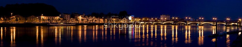 Night river and city panoramic by shkyo30