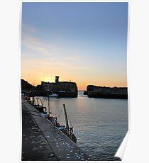 Sunset at Dunbar Harbour Poster