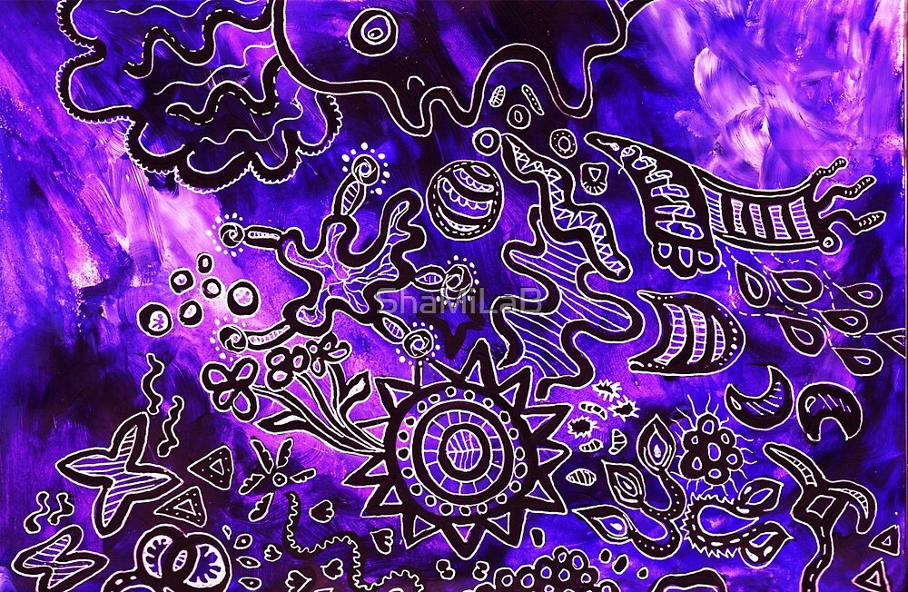Blue and purple zentangle by ShaMiLaB