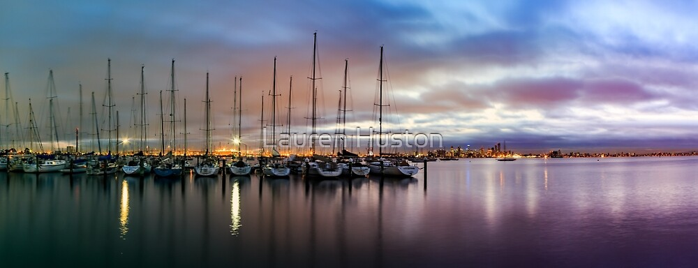 Dawn over Melbourne from Williamstown by Lauren Huston