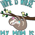 Home Is Where My Mom Is Quote Mother & Baby Sloth T Shirt by funnytshirtemp