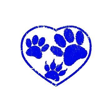 Rubber Stamped Heart And Pet Paw Prints In Blue by Almdrs