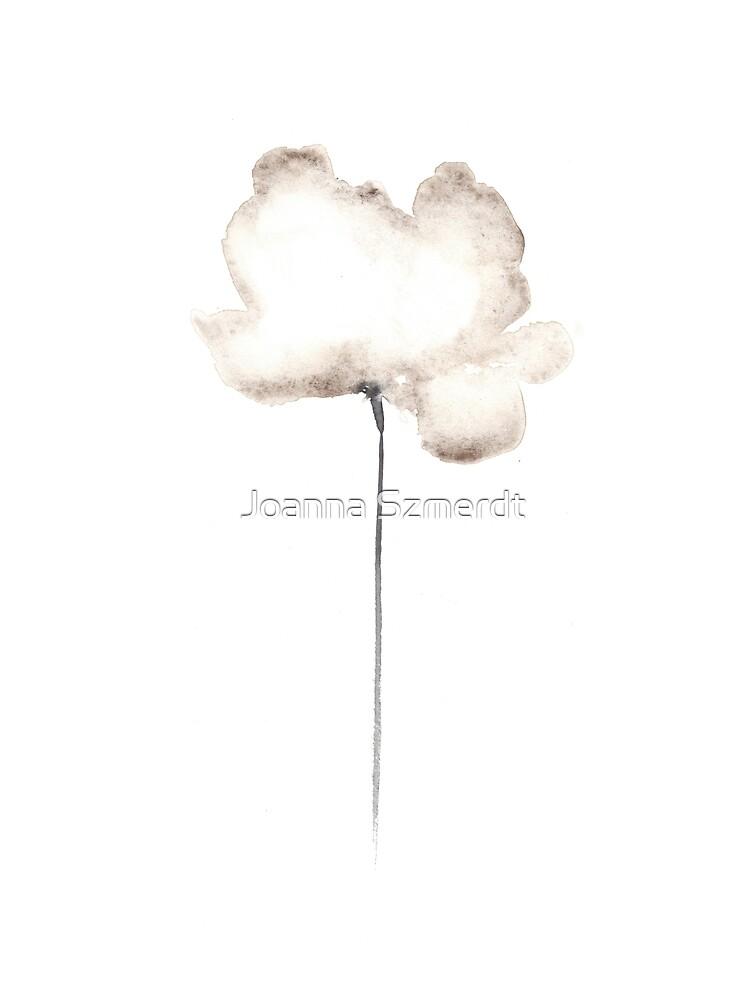 White flower minimalist painting by Joanna Szmerdt