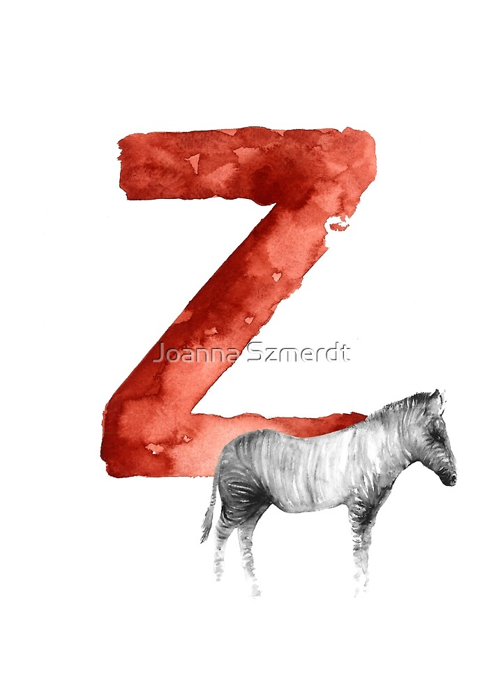 Zebra watercolor alphabet minimalist painting by Joanna Szmerdt