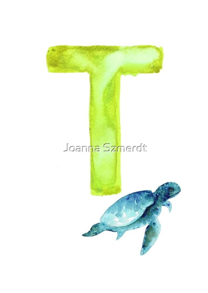 Sea turtle watercolor alphabet poster by Joanna Szmerdt
