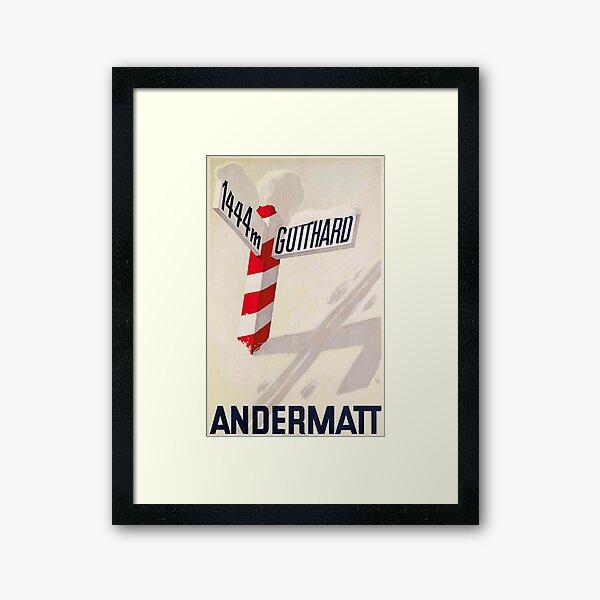 Andermatt ,Switzerland Vintage Ski Travel Poster Framed Art Print
