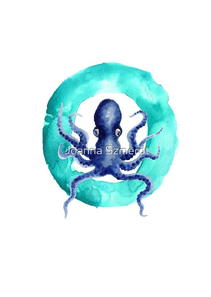 Octopus watercolor alphabet art print by Joanna Szmerdt